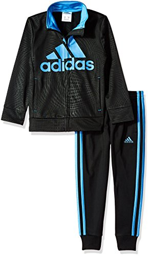 adidas Little Boys' Tricot Jacket and Pant Set, Black, 7