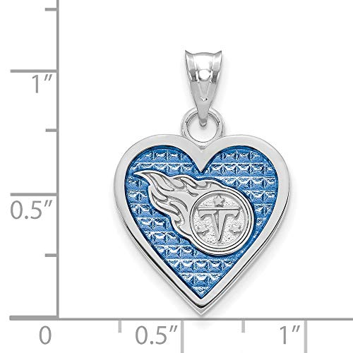 NFL Sterling Silver Tennessee Titans Enameled Heart Pendant
