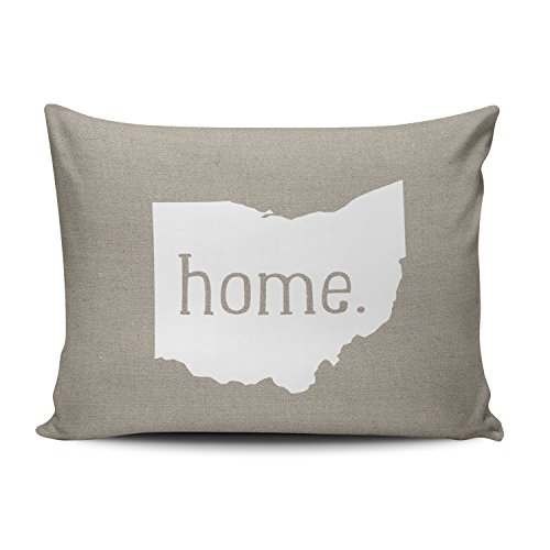 SALLEING Custom Pretty Cute Ohio Home State Decorative Pillowcase Pillowslip Throw Pillow Case Cover Zippered One Side Printed 12x18 - Printed State Pillow Ohio Case