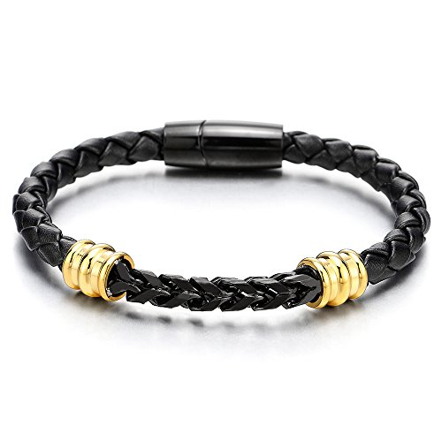 COOLSTEELANDBEYOND Mens Stainless Steel Gold Black Square Franco Chain Curb Chain and Black Braided Leather Bracelet ()
