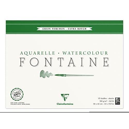 Clairefontaine 96430C Fontaine Aquarelle bloc collé 4 côtés 25F 30x40cm 300g grain torchon Blanc