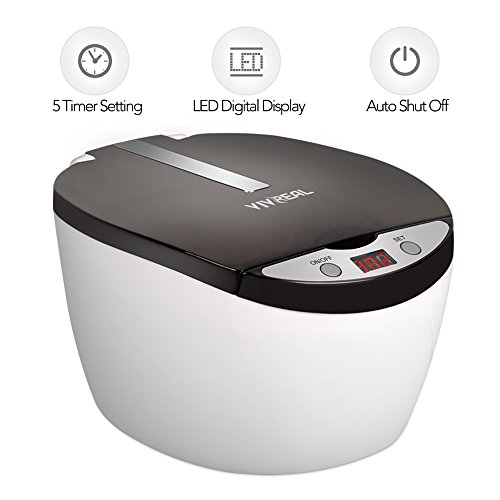 Ultrasonic Denture (Ultrasonic Cleaner - Jewelry Cleaner CD Cleaner Denture Cleaner with Timer Setting, Ultrasonic Cleaner for Watches, Eyeglasses with Strict Quality Standard 304 Stainless Steel Liner 25 Ounces Capacity)