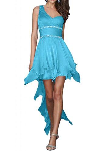 Toscana nupcial novia un-hombro de la gasa Hi-Lo por la noche vestidos de damas de la bola de largo vestidos de fiesta Azul