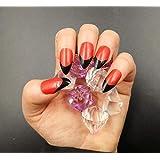 Business Ventures Reusable Artificial Nails with Glue (Red Black) -24 Pieces Set