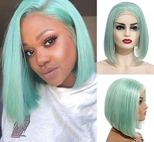 Lace Front Wigs Mint Green 180% Density 8inches Virgin Human Hair Wigs Glueless Middle Part Silky Straight Hair Wigs 13X4 Frontal Pre Plucked Natural Hairline Short Lace Bob Wigs for Women