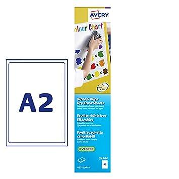 Avery 24904 - Láminas de pizarra blanca reutilizables (A2)