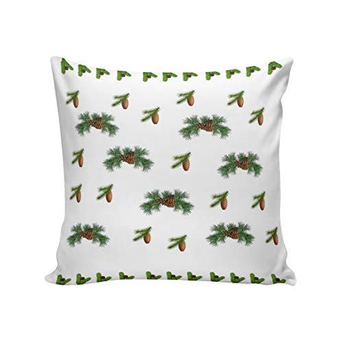 Satin Pillowcase, Hypoallergenic Anti-Aging Double-Side Case with Zipper Reduces Respiratory Irritation and Allergies, Merry Christmas Theme Pinecone Hazelnut 16 in x 16 ()