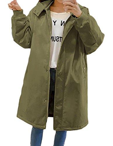 Wadded Outwear Parka Atree Cappotto Con Militare Cappuccio Staccabile Verde Donne 05Fxxq6