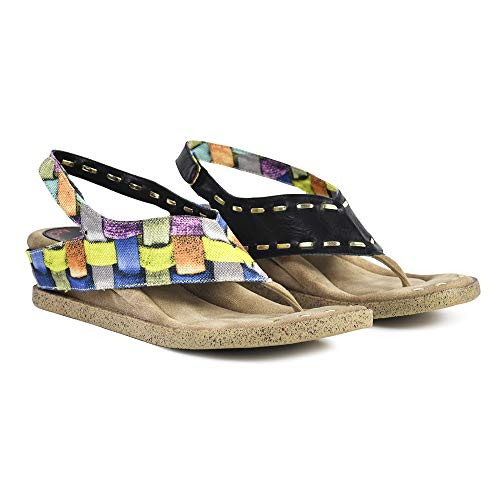 Modzori Feena Women's Low Wedge Reversible Sandal (10, Multicolored/Black)