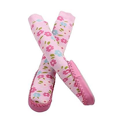 Bañador para bebé calcetines Zapatillas antideslizante antideslizante interior zapatos calcetines rosa flores 12 – 18 M