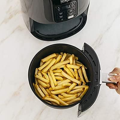 Ninja Air Fryer, 1550-Watt Programmable Base for Air Frying, Roasting, Reheating & Dehydrating with 4-Quart Ceramic Coated Basket (AF101), Black/Gray