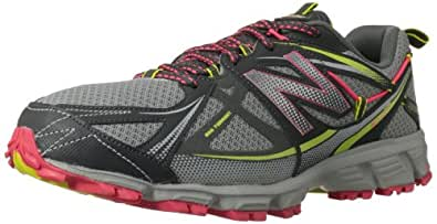 New Balance Women's WT610 Trail Running Shoe,Dark Grey/Pink,5 D US