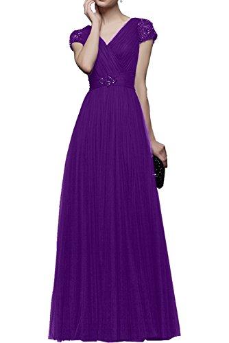 Prinzess Abendkleider Tuell linie a Lang Kurzarm Promkleider Braut Festlichkleider Rosa La Rock Violett Partykleider mia Langes 7nqwYXXS