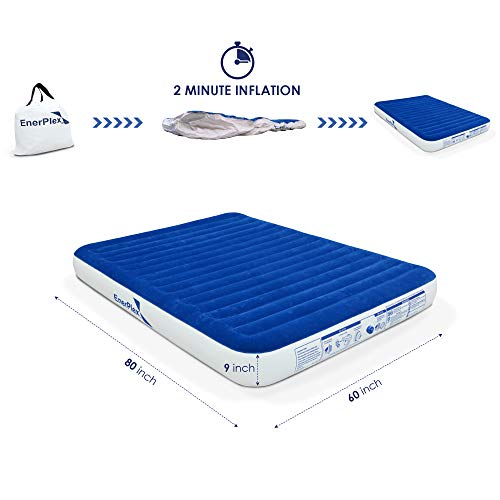 EnerPlex Never-Leak Queen Size Air Mattress Best Airbed for Home and Camping Use Wireless Rechargeable Pump for Blow Up in Home Car Tent Camping Guest Bed 2-Year Warranty
