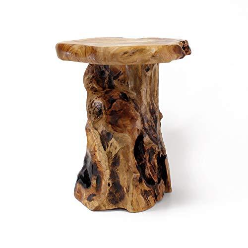 WELLAND Cedar Root Wood Log Side Table, End Table, Rustic Primitive Natural Live Edge - Cedar Outdoor Coffee Table