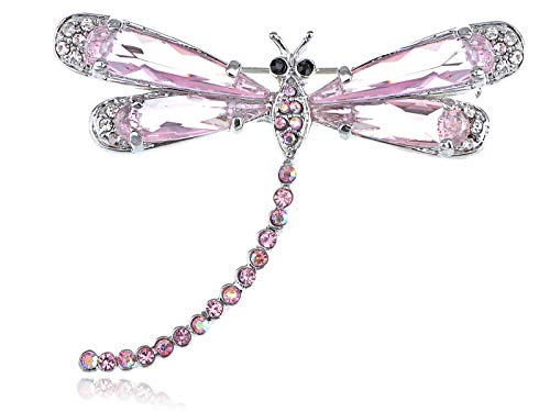 Light Rose Pink Rhinestone Crystal Tiny Beaded Tail Costume Dragonfly Brooch VTG for Women