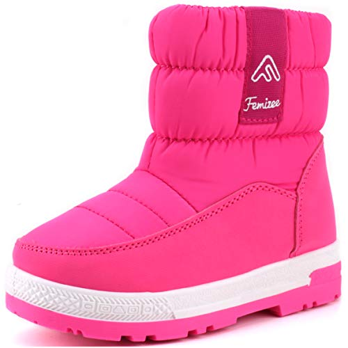 Femizee Toddler Snow Boots for Boys Girls Winter Outdoor Waterproof Fur Lined Kids Booties, Hot Pink, 1943 -