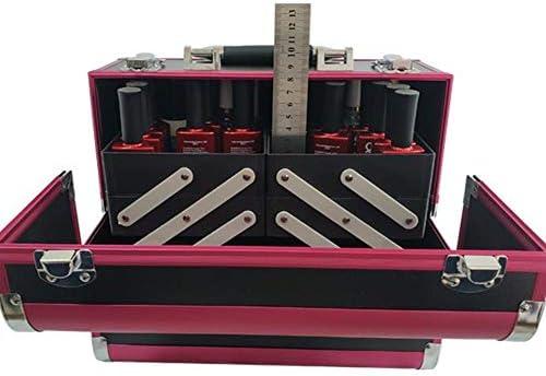 メイクトレーニングボックスプロのアルミメイクアーティスト収納ボックス、多機能化粧品収納ボックス、スライドトレイ付き、キーロック付きポータブル、赤+黒