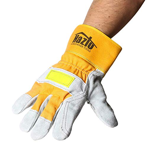 Construction Leather Work Gloves for Men & Women | Safety Reflector Band | Heavy Duty Industrial Level - Perfect For Gardening, Landscaping, Tool Use, Demolition & DIY Projects | One Size Fits Most