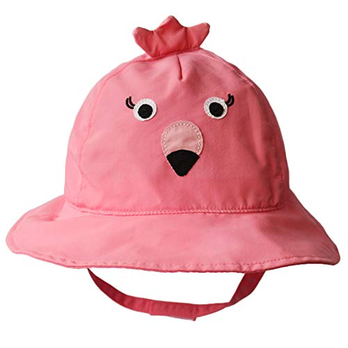 Cotton Breathable Animal Anti UV Sun Protection Bucket Hat with Chin Strap Outdoor Cap for Kids Baby Toddlers Girls/Boys Pink -