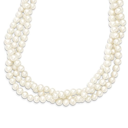 ow Gold 7mm White Near Round Freshwater Cultured Pearl 3 Strand Chain Necklace Pendant Charm Fine Jewelry Ideal Gifts For Women Gift Set From Heart ()
