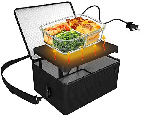 Horno portátil personal, mini calentador de alimentos eléctrico con bolsa calentadora para comidas recalentadas en la oficina, viajes, mampostería y ...