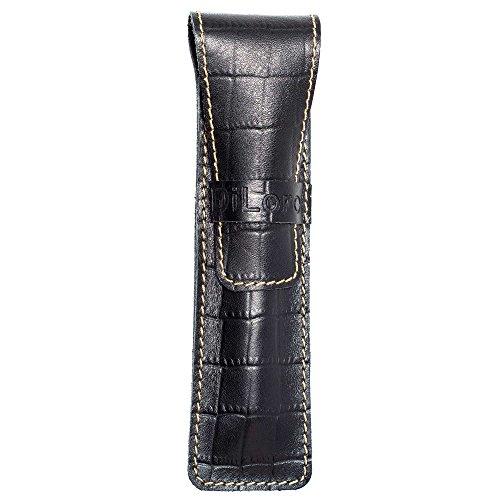 DiLoro Full Grain Top Quality Genuine Leather Single Pen Case Sleeve Holder Pouch (Buffalo Black Croc (Finest Quality Pencils)