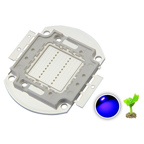 Chanzon High Power Led Chip 20W Royal Blue Plant Grow Light (440nm-450nm/600mA/DC 30V-34V/20 Watt) SMD COB Emitter Diode Components 20 W Bead for DIY Hydroponic Aquarium Growing Lamps