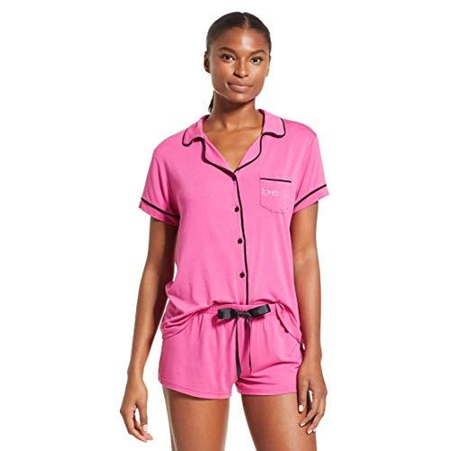 Satin Bebe (bebe Intimates Loungewear Pajama Set, Satin Short Set - Rose Violet, M)