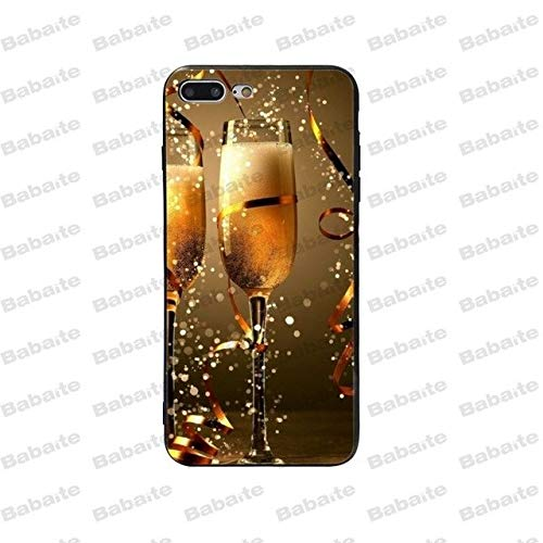 Champagne Glass iPhone 8 PLUS SIZED Case, BIGGER SCREEN Yellow Wine Coupe 7 PLUS Cover Alcohol Drinking Flute Foam Beer Party Celebration Sparkling Ribbon Fun Hangout Dinner Themed Half-wrapped, TPU