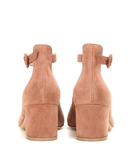 Eldof Pumps Mid Heel Nude Style Toe Round Pumps Women's Slender Heel 5 Ankle 5CM Strap Chunky r1qrwA6