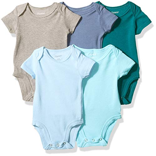 Hanes Ultimate Baby Flexy 5 Pack Short Sleeve Bodysuits, Blues, 0-6 Months from Hanes