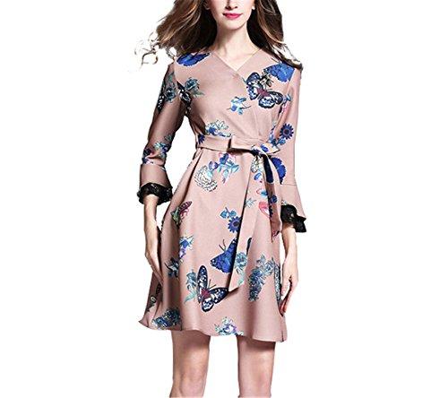 Juhgn New Designer Runway Dress Spring Fashion Women Long Flare Sleeve Sexy V Neck Vintage Print Tunic Party Dresses Vestidos1m