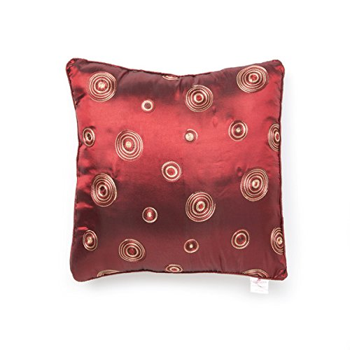 Round Satin Embroidered Pillow - Violet Linen Silky Circle Cushion Cover, 17