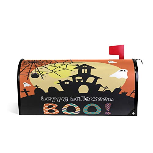 """Naanle Halloween Magnetic Mailbox Cover, Halloween Ghost Castle Mailbox Wrap Home Decorative for Standard Size 20.8""""(L) x 18""""(W)"""