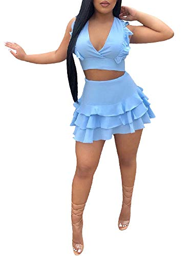 Women's Sexy 2 Piece Outfits V Neck Halter Sleeveless Crop Top Skirt Set Ruffle Mini Dress Blue ()