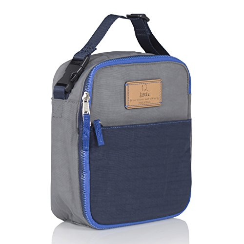 TWELVElittle Fully Insulated Interior 100% Nylon Courage Lunch Bag - BPA, PVC and Phthalate Free, Grey/Navy (Crinkle Big Zipper Nylon)