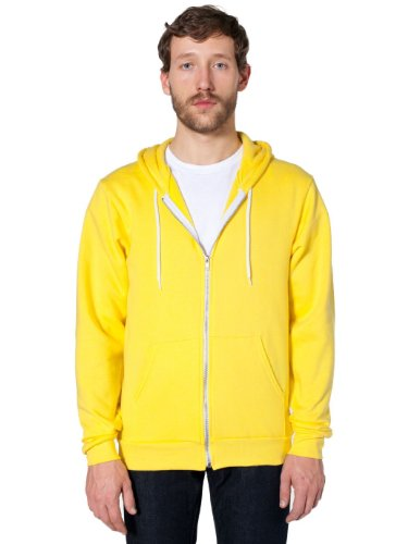 Unisex Lightweight Fleece - American Apparel  Unisex Flex Fleece Zip Hoodie, Sunshine, Small