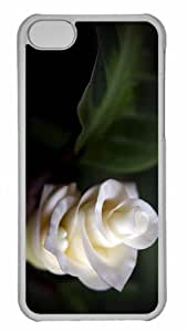 Customized iphone 5C PC Transparent Case - White Soft Petals Personalized Cover
