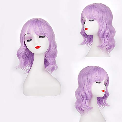 H&N Hair Colorful Purple Wigs Short Bob Wave Wigs for Women 14''synthetic Wigs with Bangs Cosplay Halloween Party Wigs + Free Wig Cap ()