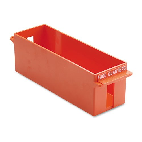 (MMF Industries Porta-Count Extra-Capacity Rolled Coin Quarter Storage Tray, 3.38 x 3.63 x 11.5 Inches, 300 Dollar Capacity, Orange)