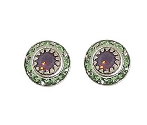 Baked Beads Earrings - Austrian Crystal Posts - Purple with Green