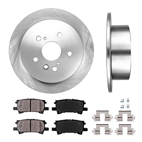 REAR 288 mm Premium OE 5 Lug [2] Brake Disc Rotors + [4] Ceramic Brake Pads + Clips