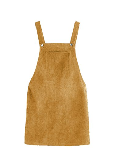 Romwe Women's Straps A-line Corduroy Pinafore Bib Pocket Overall Dress Yellow M