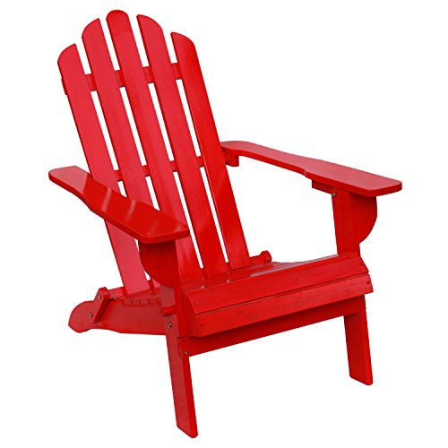 Adirondack Folding Deck Chair (Songsen Outdoor Wooden Folding Adirondack Chairs Patio Deck Garden Furniture (Adult,Red))