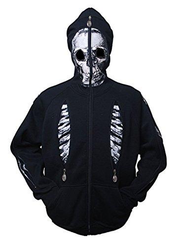 [Simplicity Children's Hoodie Skeleton Print Costume Mask Black Jacket Size 4] (Boys Skeleton Sweatshirt Hoodie Costumes)