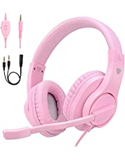 ShinePick Kids Headphones, Over-Ear Girls Boys Gaming Headphones with Microphone and Volume Control for Kids Teens Online School, Travel, PS4, Xbox One(Pink)