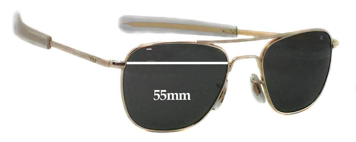 d471a20764 Amazon.com  SFx Replacement Sunglass Lenses fits American Optical Original  Pilot 55mm wide (Polycarbonate Clear Hardcoat Pair-Regular)  Clothing