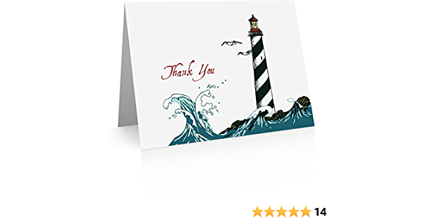 Beach Embossed Thank You Cards 50 Lighthouse Thank You Notes 100 Set Of 20