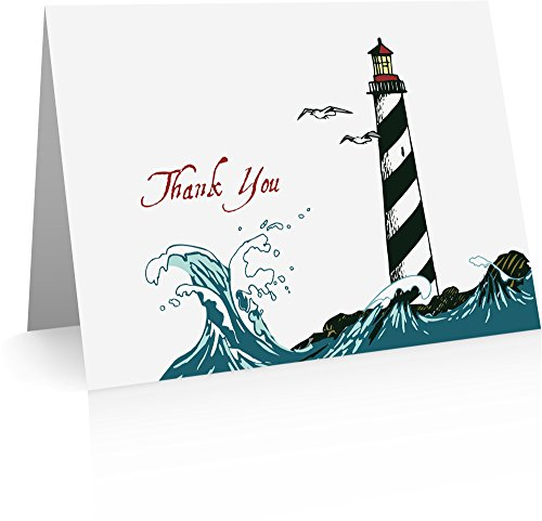 Lighthouse Thank You Cards (24 Foldover Cards and Envelopes)